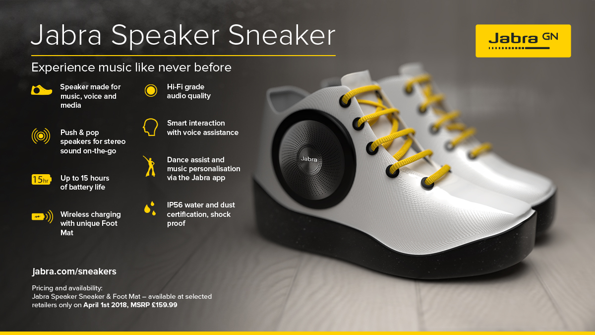 Wireless Bluetooth speaker company Jabra unveiled a speaker sneaker
