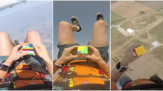 Video Of The Week - Skydiver Solves Rubik's Cube As He Free-Falls!