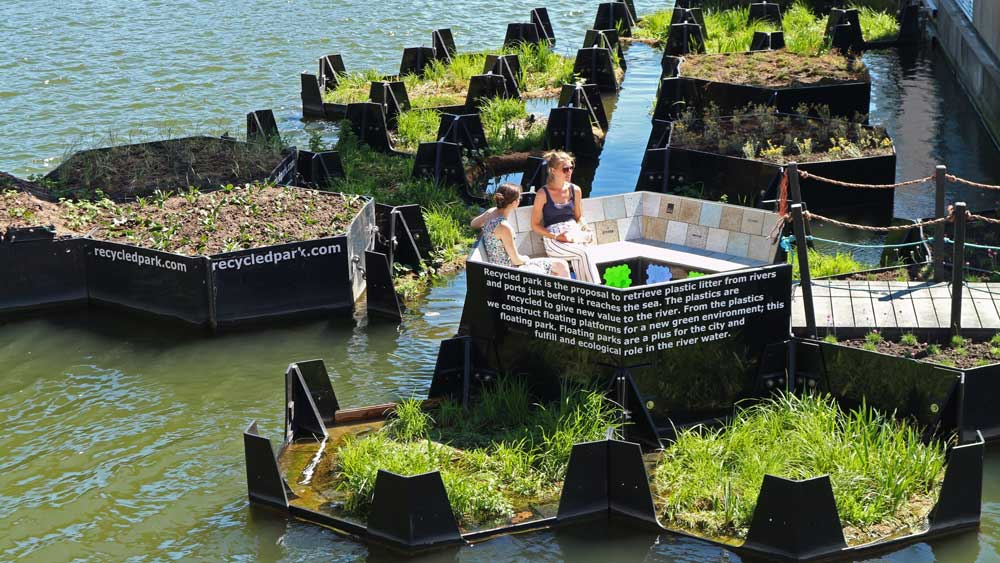Rotterdam's Picturesque Floating Park Is Built Entirely From Recycled Plastic Waste