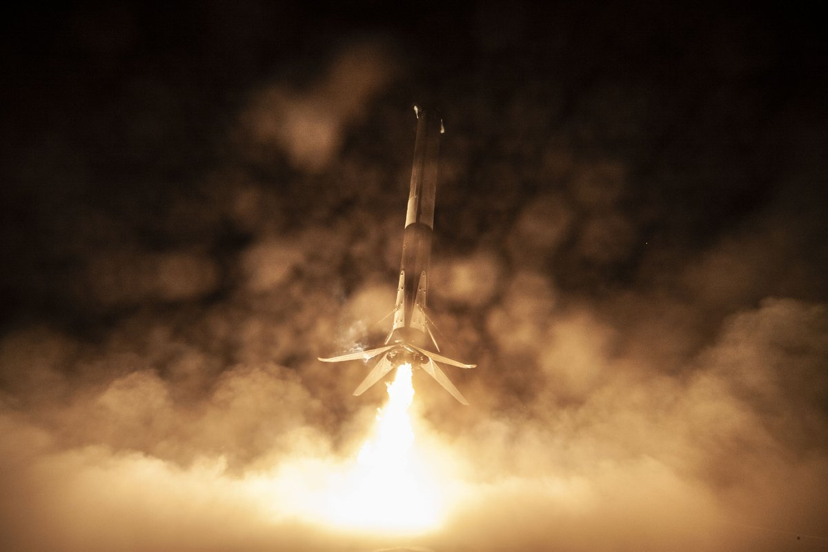 Falcon 9 returns to Earth after launching the Crew Dragon