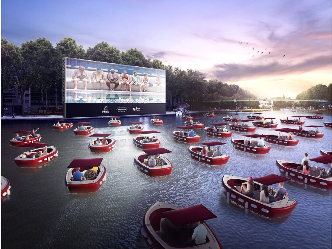 Parisians Enjoy Floating Cinema On The Seine River