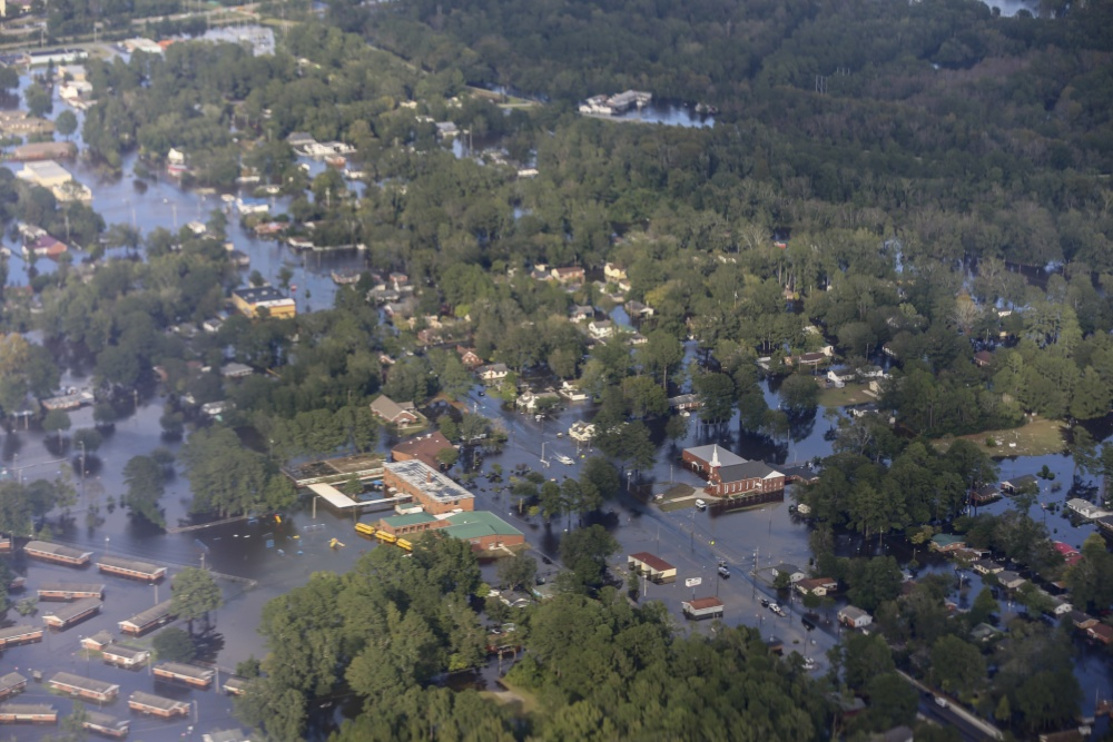 Aerial view of flooding in North Carolina as of September 17