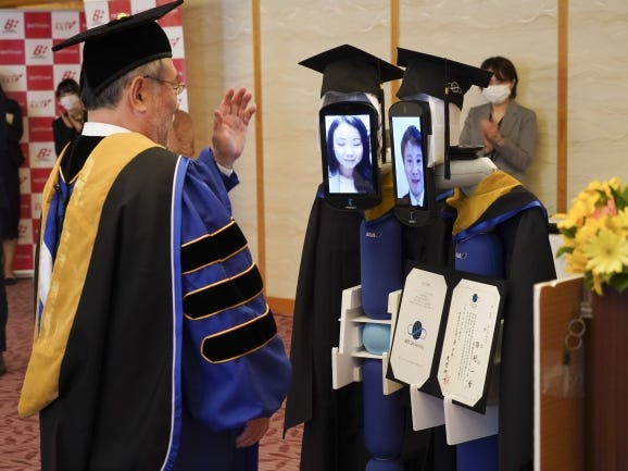 "Robots Help Japanese Students ""Attend"" Graduation Ceremony"