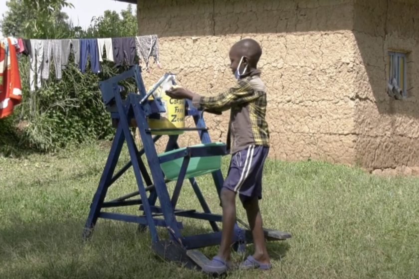 Nine-Year-Old Kenyan Boy Builds Hand Sanitizing Station To Help Fight COVID-19