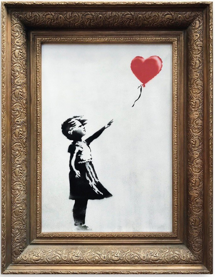 Banksy's Girl With Balloon painting at Sotheby's auction