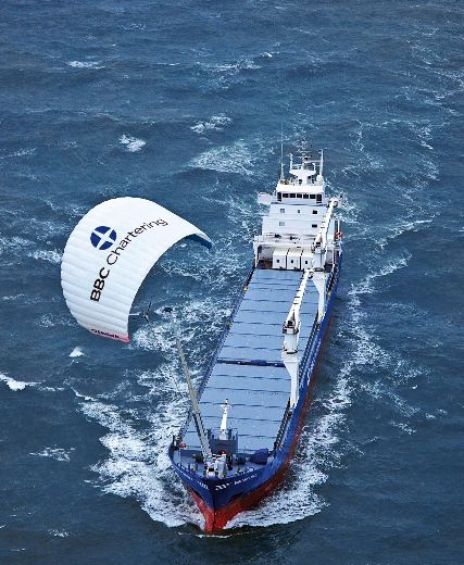 Capturing wind energy to power cargo ships