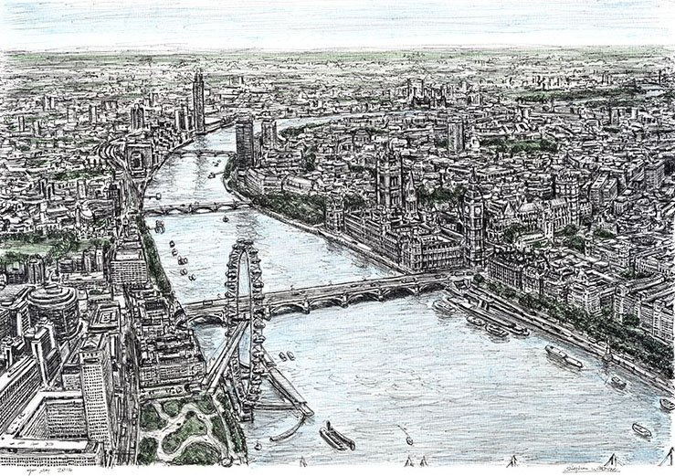 British Artist Sketches Intricate Panoramic Cityscapes Entirely From Memory