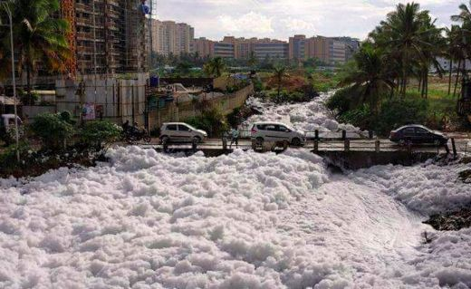 Severe Pollution Causes India's Bellandur Lake To Spew Toxic White Foam