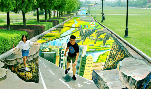 The World's Largest And Longest 3D Street Painting Debuts In Nanjing, China