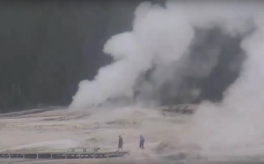 Yellowstone's Ear Spring Geyser Spews Out Water, Steam, Mud, And . . . Human Trash!